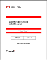Health Canada Guidance: Product Monograph