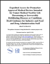 FDA Draft Guidance: Expedited Access for Premarket Approval (EAP) Medical Devices