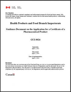 Health Canada Guidance: Application for a Certificate of a Pharmaceutical Product